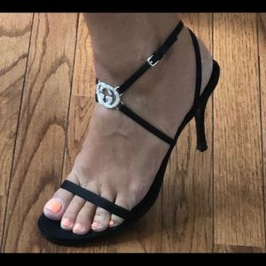 Gucci Shoes - Gucci Heels size 10.5. Black silk straps.